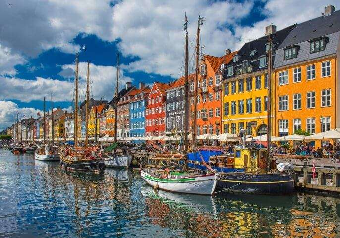 Colorful houses at Nyhavn, Copenhagen, Denmark