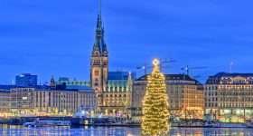 Duitsland Hamburg Alster kerstboom