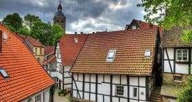 Duitsland Tecklenburg oude huisjes