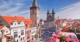 Tsjechië Praag Tyn kerk en klok
